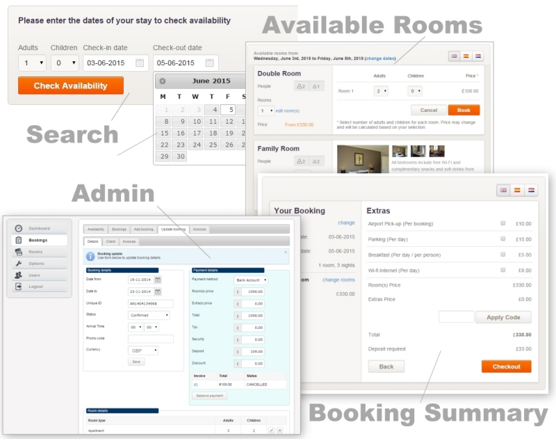 Hotel website room reservation booking system with for Booking design hotel