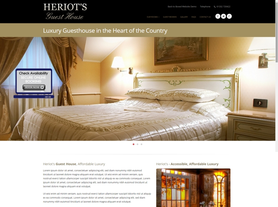 Guesthouse website design with online booking